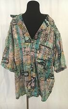90s VINTAGE MENS GOTCHA SURF SALAMANDER MULTICOLORED BUTTON UP ISLAND POLO SHIRT