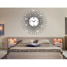 STYLISH SILVER DIAMANTE BEADED JEWELED ROUND SUNBURST METAL WALL CLOCK uk
