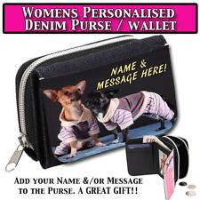 PERSONALISED CUTE CHIHUAHUA PUPPIES WOMENS DENIM PURSE LADIES WALLET GIFT ST027