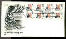 1598a BOOKLET PANE of 8 FLAG FDC BALTIMORE, MD ART CRAFT CACHET