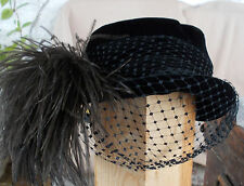 American USA Vintage-1910-20s-black-velvet-hat-with-veil and ostrich feather