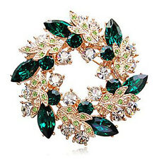 NATALE COLLETION GREEN CERCHIO CORONA STRASS fermagli oro base br45g