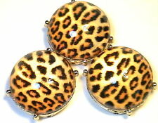"3 - 2 HOLE SLIDER BEADS 7/8"" LEOPARD PRINT WITH CLEAR GLASS CABOCHONS IN GOLD"