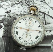 RARE 1927 Sterling Lemania Accuraspeed Race Chronograph Pocket Watch - SERVICED