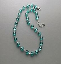 Teal green blue crystal glass necklace .. faceted Czech bead silver tone jewelry