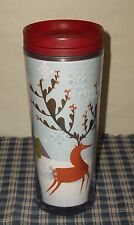 2010 Starbucks Christmas Edition Red Winter Reindeer Acrylic Tumbler Twist Top