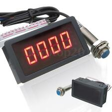 Hall Proximity Switch Sensor NPN + 4 Digital Red LED Tachometer RPM Speed Meter