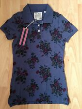 Jack Wills Blue Floral Polo T Shirt Size 8 New with tags
