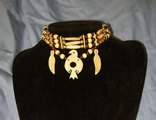 Native American Indian Buffalo Bone Carved Thunderbird Pendent Choker Necklace