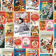 Mickey & Minnie Mouse Fabric Vintage Posters Disney 100% Cotton  Fabric Children