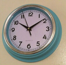 RETRO DUCK EGG BLUE HOME OFFICE KITCHEN WALL CLOCK