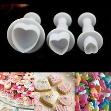 3pcs Heart Shape Plunger Mold Cake Sugarcraft Fondant Cookies Cutter Decorating