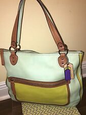Coach Poppy Handbag Colorblock Leather Hallie Glam Tote Satchel Bag 22430 Rare