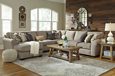 STEFAN-Large Gray Microfiber Living Room Sofa Couch Chaise-5 piece Sectional Set