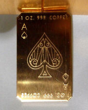 TWO 1 oz. 2016 Ace of Spades Cracker .999 Copper Bullion Bar  Ingot Free Ship