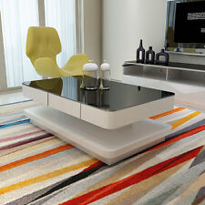 DESIGN HIGH GLOSS WHITE COFFEE TABLE WITH BLACK TEMPERED GLASS TOP LIVING ROOM