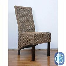 Set Of Two Bayu Banana And Seagrass Dining Chairs Brown Mahogany New