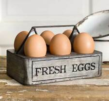 """Country new """"FRESH EGGS"""" tin egg caddy / country decor"""