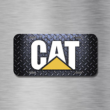 Caterpillar CAT White Yellow Black Diamond Plated License Plate, Front Auto Tag