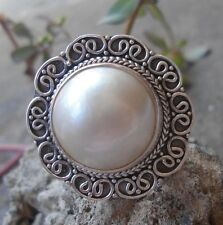 925 Sterling Silver-LH11-Bali Hand Made Ring Round White Mabe Pearl Size 9