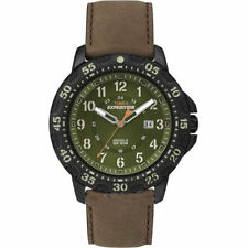 Timex T49996, Men's Watch, Expedition, Brown Leather, Indiglo, Date, T499969J