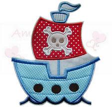 großes Piratenschiff Aufbügler  Aufnäher Bügelbild schiff boot skull patch