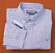 NWT New Vineyard Vines Whale Shirt Red White Blue Check XL Cotton Button Up L/S