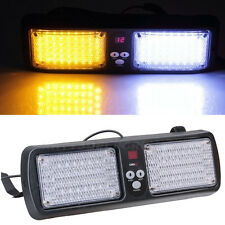 86 LED White+Amber Car SUV Emergency Beacon Strobe Sun Visor Warning Flash Light