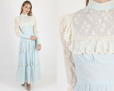 Vintage 70s Gunne Sax Dress Boho Wedding Light Blue Lace Hippie Prairie Maxi S