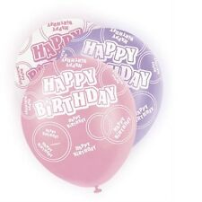 Pink Glitz Happy Birthday Pack Of 6 Latex Party Balloons Suit Air Or Helium