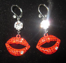 BETSEY JOHNSON KISS ME RED MARILYN LIPS DANGLE EARRINGS