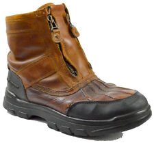 Polo Ralph Lauren Leather Nubuck Duck Boots 6 Rubber Mens Double Zipper Brown