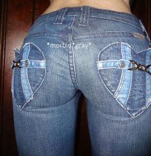 Frankie B ultra low rise blue steel buckle heart pocket skinny jeans 24 (0 2)