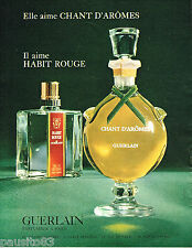PUBLICITE ADVERTISING 055  1967  GUERLAIN   parfum CHANT D'AROME & HABIT ROUGE
