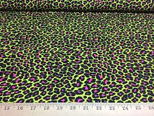 "Neon Green/Hot Pink Leopard  4 Way Stretch Heavy Poly Lycra Fabric 58"" W BTY"