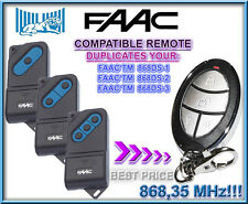 FAAC TM 868DS-1,2,3 Compatible Remote transmitter Replacement, clone, keyfob