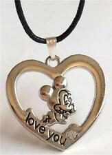 Mickey Mouse Crystal Heart Necklace Disney Black Cord Silver Plated USA Seller