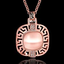 18K Rose Gold Plated Opal With Zircon Necklace Women Jewelry UK Seller