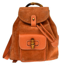 Authentic GUCCI Logos Bamboo Mini Backpack Bag Suede Leather Orange Italy 07S922