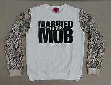 Married To The Mob Women's Crew Neck Sweatshirt White MM1 Size Medium NWT