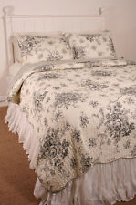 Special Purchase Queen Quilt Set French Country Floral Black Toile