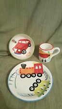 3 piece set Vietri Autos, trains kids set cup, bowl, plate *chip* Italy