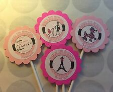 Paris French Theme Custom Cupcake Toppers/Picks 12 Count