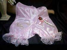 VTG SISSY BABY PINK NYLON LACY PANTIES BLOOMERS DIRECTOIRE KNICKERS-BUTTERFLIES