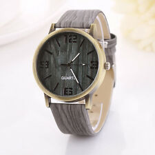 Fashion Women Watch Vintage Wood Grain Quartz Watch Cusual Dress Wrist Watch UK