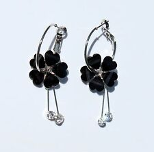 Earring Sparkle Heart Plumeria Flower Dangle Hawaii Luau CZ Long Drop Black