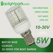(5pcs)x BAY15d 12V 24V White Marine Ship Signal Anchor LED Light Bulb Waterproof