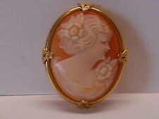VINTAGE 10K GOLD ART DECO SHELL CAMEO PIN