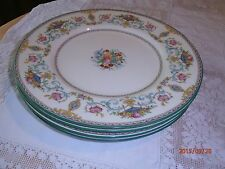 "Vtg Set 4 Minton Talbot Dinner Plates Green Band 10 5/8"" Neoclassical Floral"