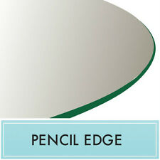 "24"" Inch Clear Round Tempered Glass Table Top 3/8"" thick - Pencil edge"